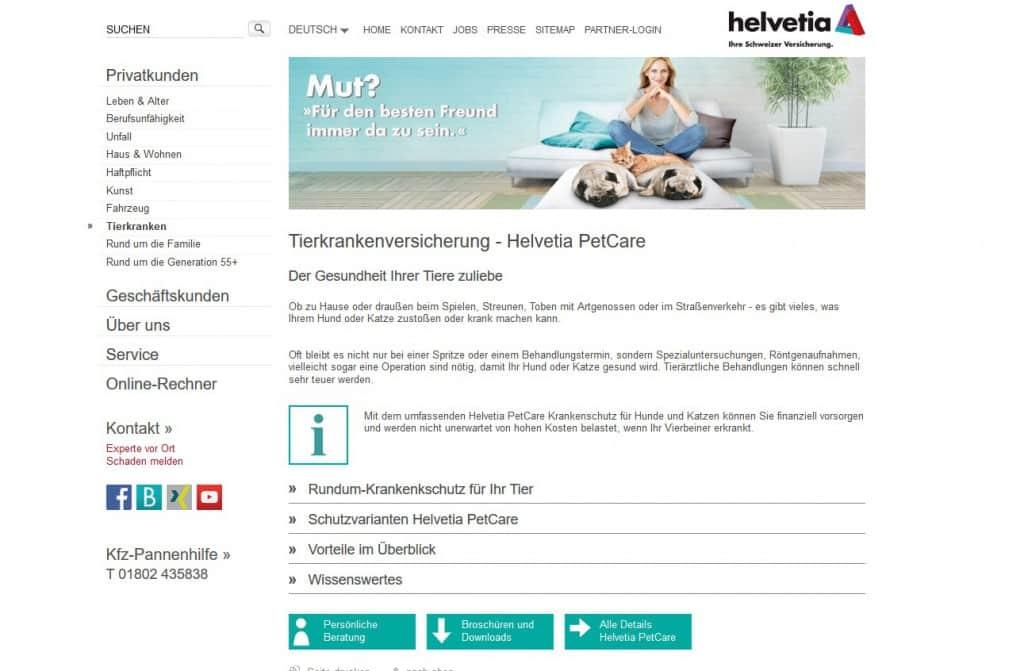 Die Webseite der Helvetia Hunde OP Versicherung