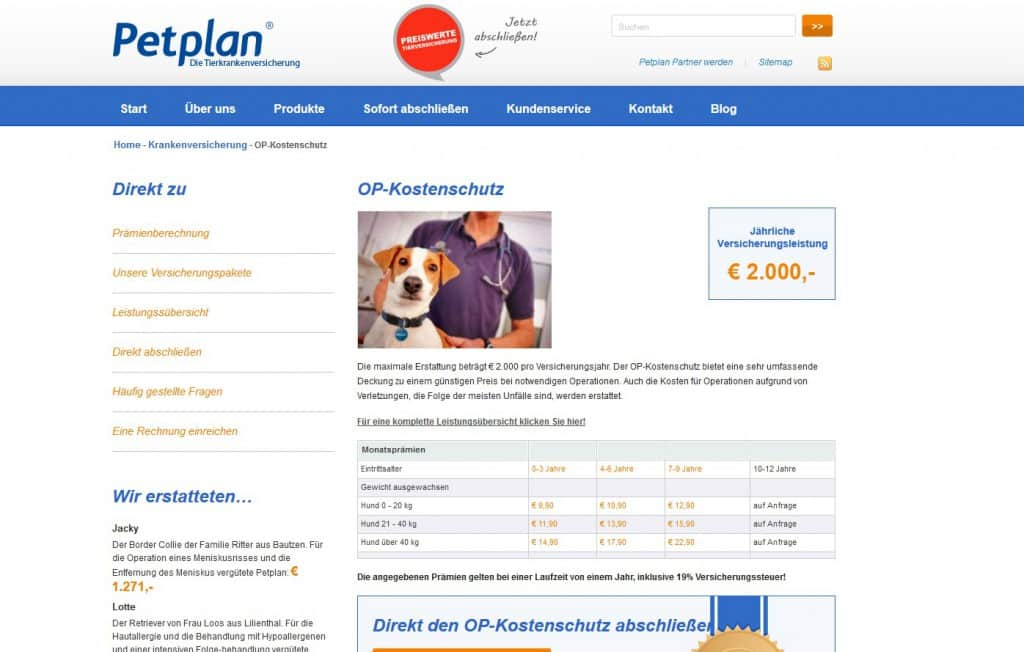 Die Webseite von Petplan
